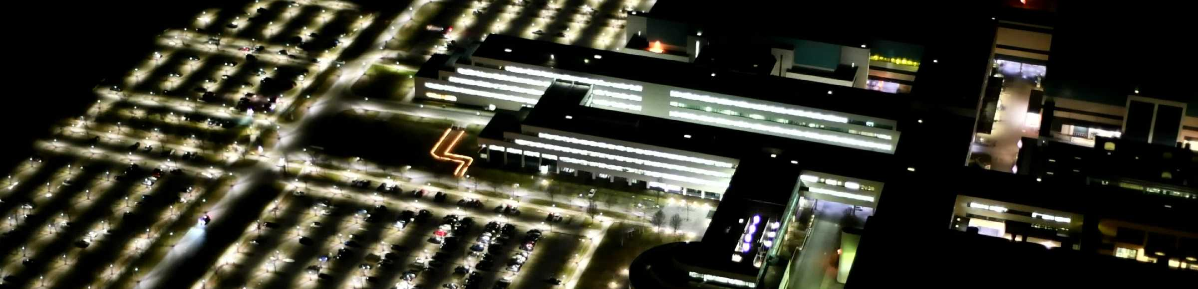 Night lighting building and production halls on the premises of GLOBALFOUNDRIES Management Services Limited Liability Company & Co. KG on Wilschdorfer Landstrasse in the district Wilschdorf in Dresden in the state Saxony, Germany