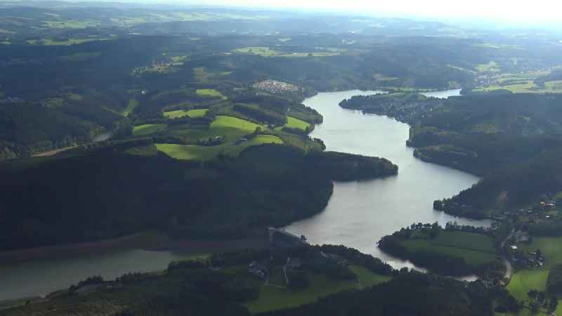 Dam and shore areas at the lake der Biggetalsperre in Attendorn in the state North Rhine-Westphalia
