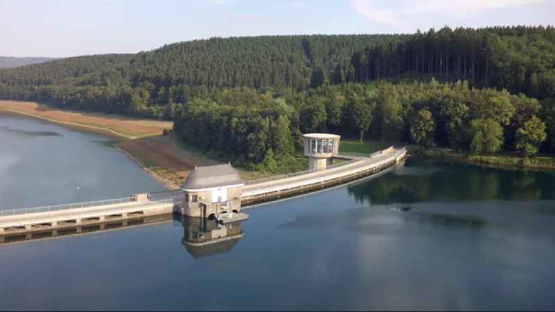 Dam and shore areas at the lake Biggesee in Attendorn in the state North Rhine-Westphalia