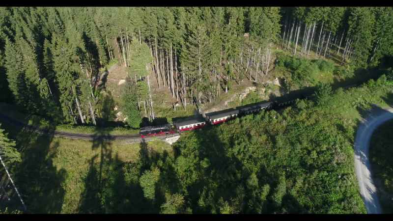 Steam train of Harzquerbahn near Drei Annen Hohne in the state Saxony-Anhalt in Germany