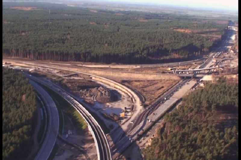 Construction site of the junction Havelland at the motorway A10 and A24 in the state Brandenburg