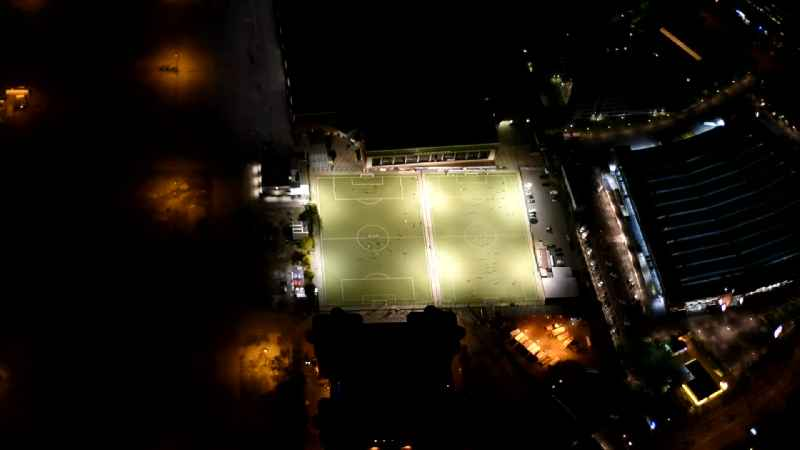 Night view Sports grounds and football pitch of Fussball-Club St. Pauli v. 1910 e.V. in Hamburg, Germany