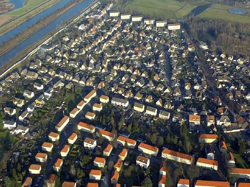 Residential areas on the lip Hamm - Shaft Frank in Herringen district in Hamm in North Rhine-Westphalia