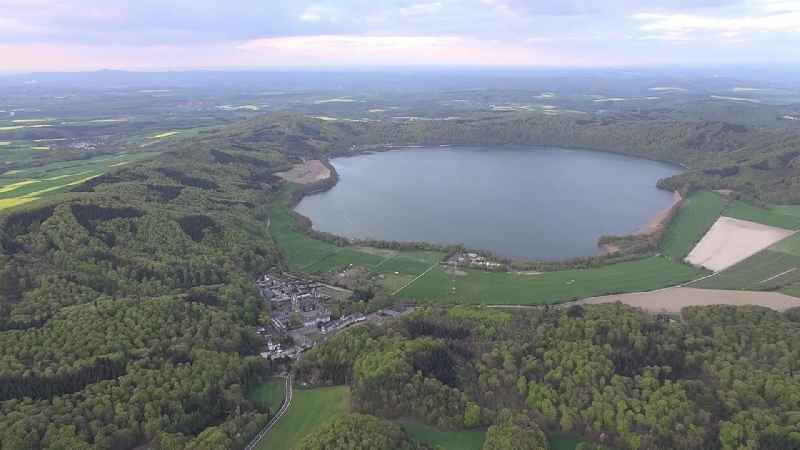 Riparian areas on the lake area of Laacher See in Nickenich in the state Rhineland-Palatinate, Germany