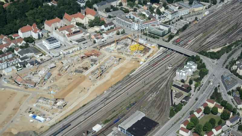 Developing field of residential and commercial space on the site of the former train- freight station in Regensburg in the state Bavaria, Germany
