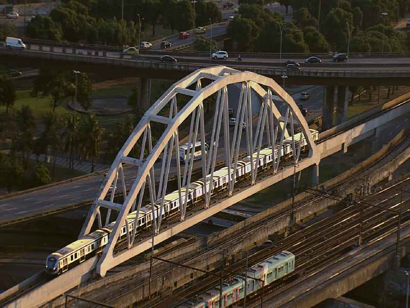 Video of moving trains of the Brazilian railway company SuperVia in Rio de Janeiro in Brazil